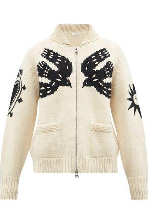 Alexander McQueen Mystic-intarsia Zipped Wool-blend Cardigan - Mens - Cream