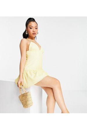 ASOS Women Mini Dresses - Petite cami plunge textured pep mini dress in