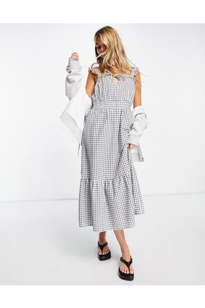 ONLY Midi dress with frill sleeve and shirred waist in mono gingham check-Black
