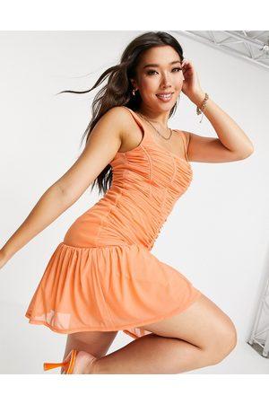 ASOS Women Evening Dresses - Corset ruched mesh mini dress in -Orange