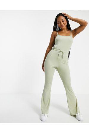 Miss Selfridge Women Jumpsuits - Rib strappy jumpsuit in -Green