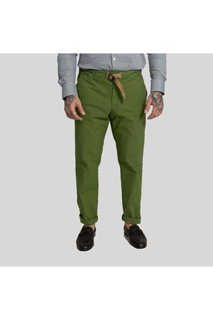 White Sand Contrast Belt Straight Leg Trousers