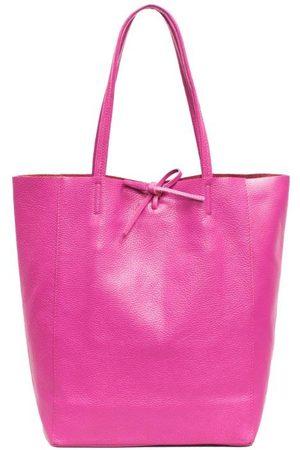 Sostter Fuchsia Pebbled Leather Tote Shopper Bag