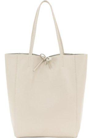 Sostter Ivory Pebbled Leather Tote Shopper Bag