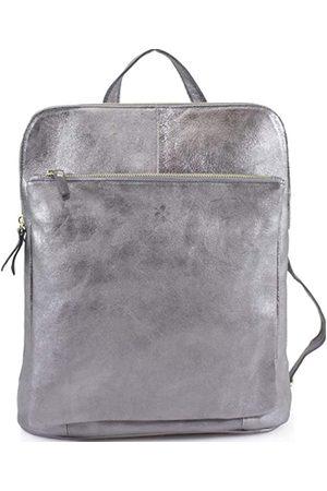 Sostter Pewter Metallic Leather Pocket Backpack