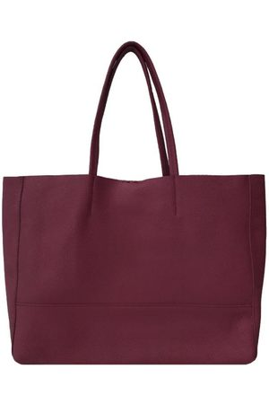 Sostter Plum Horizontal Soft Pebbled Leather Tote Bag