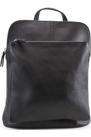 Sostter Black Soft Pebbled Leather Pocket Backpack
