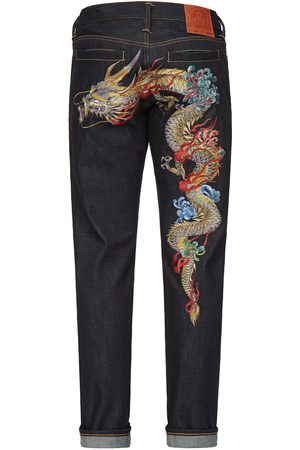 Evisu Men Jeans - Dragon Embroidered Carrot Fit Jeans #2017