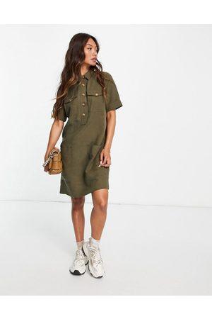 Whistles Women Mini Dresses - Pocket detail linen mini dress in green