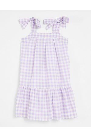 Influence Women Mini Dresses - Tie strap mini dress in lilac gingham-Purple