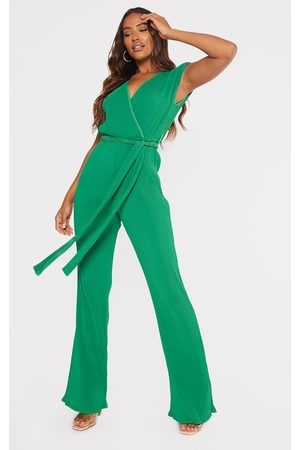 PRETTYLITTLETHING Women Jumpsuits - Bright Pleated Shoulder Pad Flared Leg Jumpsuit