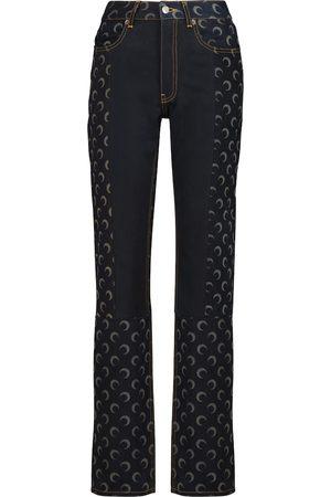 Marine Serre Printed high-rise slim jeans