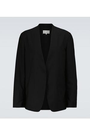 Maison Margiela Men Blazers - Collarless wool blazer