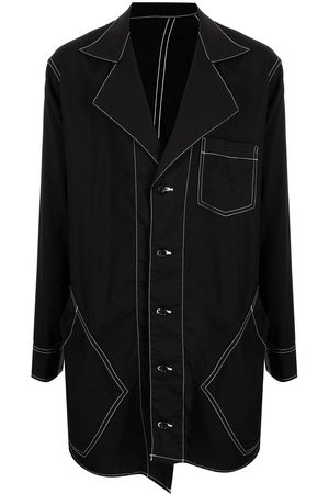 Sulvam Men Casual - Contrast stitching oversized shirt jacket
