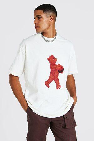 Boohoo Men Short Sleeve - Mens Ecru Tall Bear Limited Oversized T-shirt