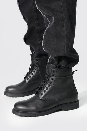 Boohoo Mens Leather Look Lace Up Boot