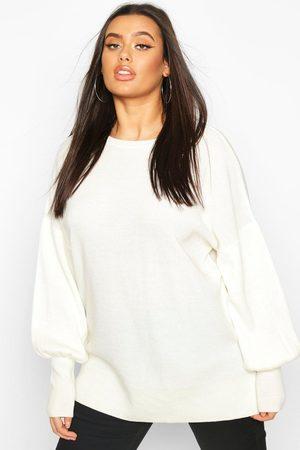 Boohoo Women Sweaters - Plus Oversized Balloon Sleeve Jumper- Cream