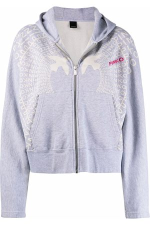 Pinko Logo-print zip-up hoodie