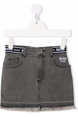 Msgm Logo band denim skirt