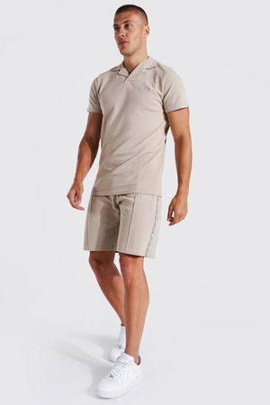 Boohoo Mens Taupe Slim Fit Man Tape Pique Polo and Short Set