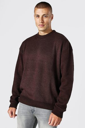 Boohoo Mens Chocolate Brushed Knit Oversized Extended Neck Jumper