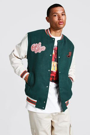 Boohoo Men Bomber Jackets - Mens Teal Tall Melton Homme Varsity Bomber Jacket