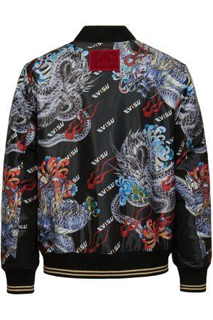 Evisu Men Bomber Jackets - Ukiyo-e Dragon and logo Allover Print Bomber Jacket
