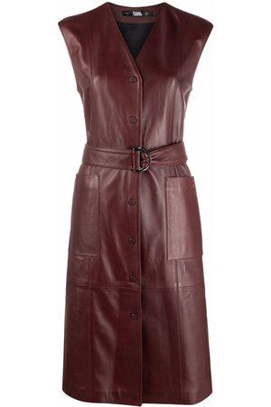 Karl Lagerfeld Women Sleeveless Dresses - Sleeveless leather dress