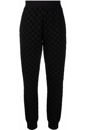 Karl Lagerfeld Flocked-monogram track pants