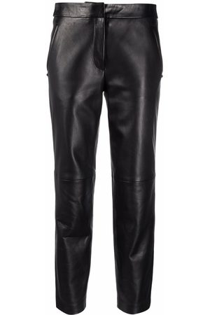 Karl Lagerfeld Women Leather Pants - Cropped leather trousers