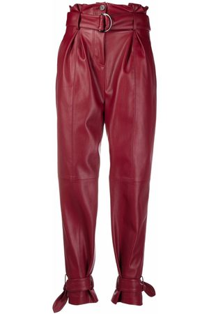 Karl Lagerfeld Women Leather Pants - Belted faux-leather trousers