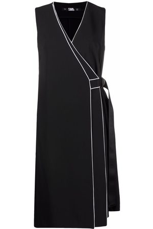 Karl Lagerfeld Women Party Dresses - Contrast-piping wrap dress