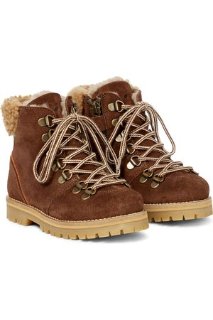 Petit Nord Girls Boots - Rainbow shearling-lined suede boots