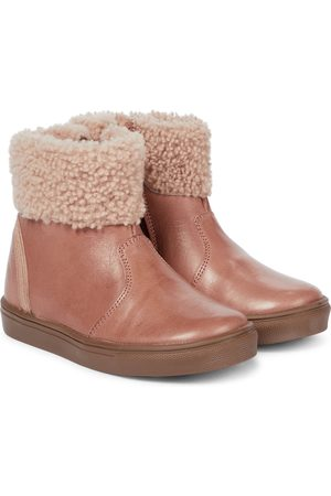 Petit Nord Girls Boots - Rainbow shearling-lined leather boots