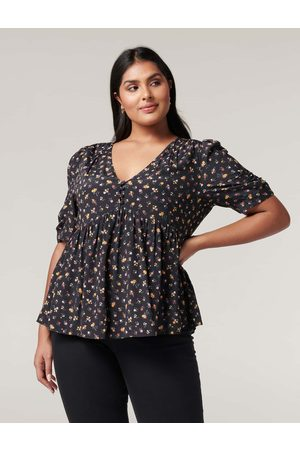 Forever New Women Blouses - Olivia Curve Ruched Sleeve Blouse