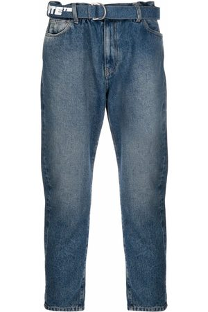 OFF-WHITE Logo-print belt cropped jeans