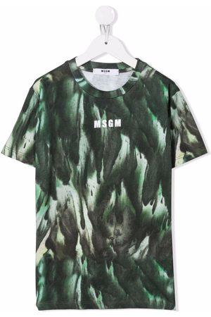 Msgm TEEN abstract-print cotton T-Shirt