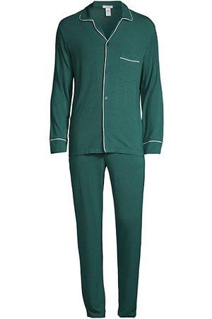 Eberjey 2-Piece William Piped Trim Pajama Set