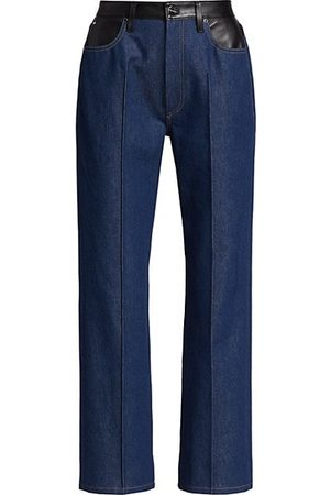 Goldsign Women Bootcut & Flares - Martin Leather-Trim Flare Jeans