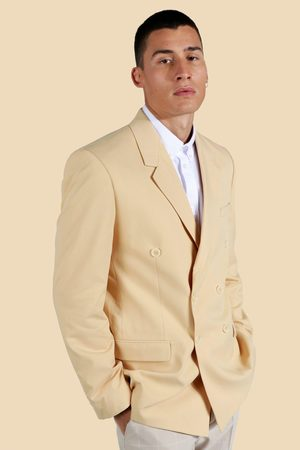 Boohoo Men Blazers - Mens Taupe Double Breasted Relaxed Blazer