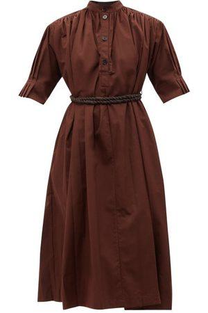 Jil Sander Gathered Belted Cotton-poplin Shirt Dress - Womens - Dark