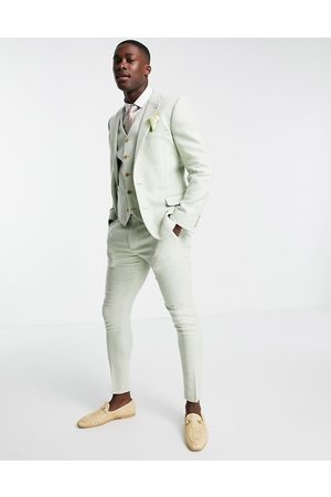ASOS Wedding super skinny wool-mix suit pants in twill