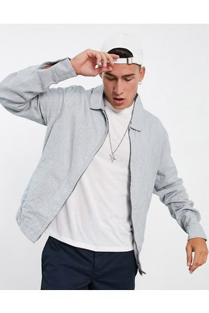 ASOS Co-ord smart slim linen mix herringbone Harrington jacket in pastel