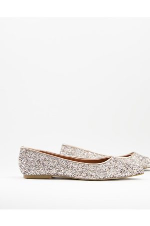 ASOS Lucky pointed ballet flats in glitter