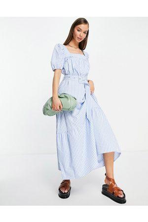 VILA Tiered maxi dress in gingham-Multi