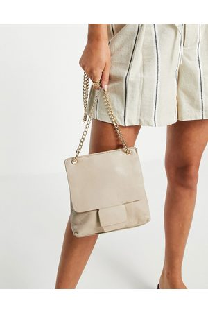 Urban Code Leather gold chain crossbody bag in sand-Neutral