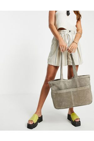 Urban Code Leather suede double pocket tote bag in