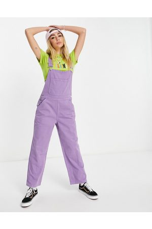 Reclaimed Inspired relaxed denim dungarees in bright lavender-Purple