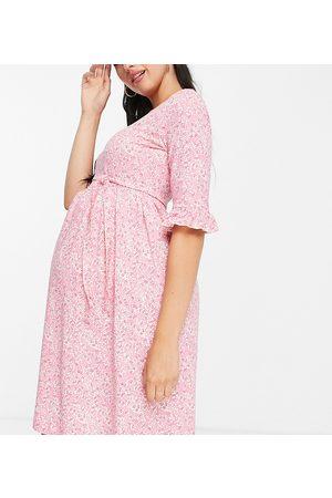 Mama Licious Mamalicious Maternity tie-waist mini dress in -Multi