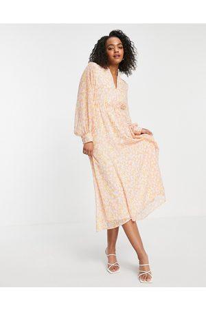 SELECTED Femme midi dress in pink print-Multi